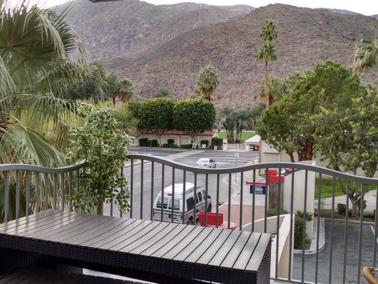The side and back terrace at Cafe Europa and JusTapas provides a view of the mountains and the O'Donnell Golf Course.