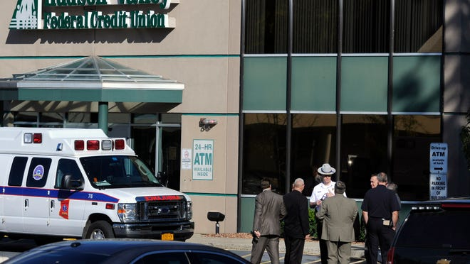 The Hudson Valley Federal Credit Union was robbed Wednesday. A dozen police cars and an ambulance responded.