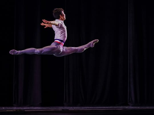 "Hyuma Kiyosawa performs a ""Flames of Paris"" variation in Round I of the 2018 USA International Ballet Competition at Thalia Mara Hall in Jackson."