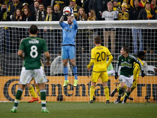 Columbus Crew goalkeeper and Mason native Steve Clark makes a save against the Portland Timbers during the 2015 MLS Cup championship game at Columbus' MAPFRE Stadium. Clark has started 82 straight games in goal for Crew SC.