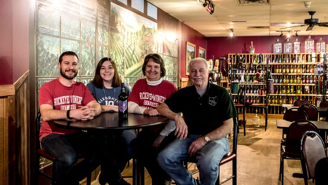 Andrew Morrison, new owner of Buckeye Winery, with wife Jessica, and parents and former owners Larry and Kathie Morrison.