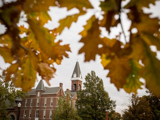 Old Main is surrounded by fall colors at Drake University