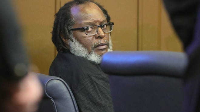 Stanley Ford in Summit County Common Pleas Court in March. Ford is accused of setting fires that killed nine of his neighbors. A mistrial was declared Monday in the trial, which has been halted since March because of the coronavirus pandemic.