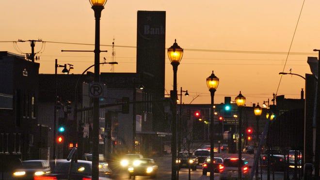 Street lamps illuminate East St. Germain Street in St. Cloud.