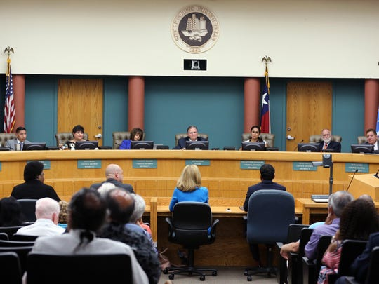 The city council listens to answers to questions given to the four finalists for the city council at-large council seat, including Sylvia Tryon Oliver (from left), John Martinez, Debbie Lindsey-Opel and Kamlesh Bhikha, during the city council meeting Tuesday, June 20, 2017. Public interviews were conducted during the meeting before the council went into executive session to make their final decision. Lindsey-Opel was selected to fill the seat.