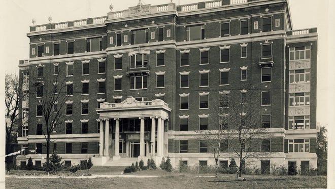 The original Kentucky Baptist Hospital is shown in 1937 at Barret Avenue near Breckinridge Street in Louisville.