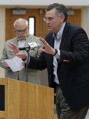 Wisconsin Herd President Steve Brandes talks to the