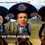 "A Photoshopped slide of, from left, Assembly Speaker Sheldon Silver, Gov. Andrew Cuomo and Senate Leader Dean Skelos dressed as the ""Three Amigos."""