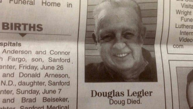 Douglas Legler's obituary in The Forum newspaper.