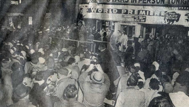 """The premiere of """"The Last Hunt"""" at the State Theatre in 1956."""