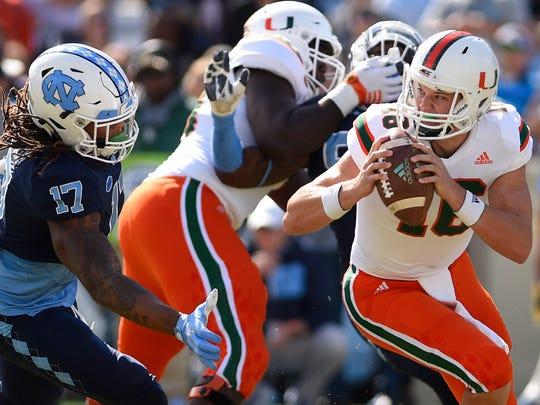 Miami Hurricanes quarterback Evan Shirreffs looks to