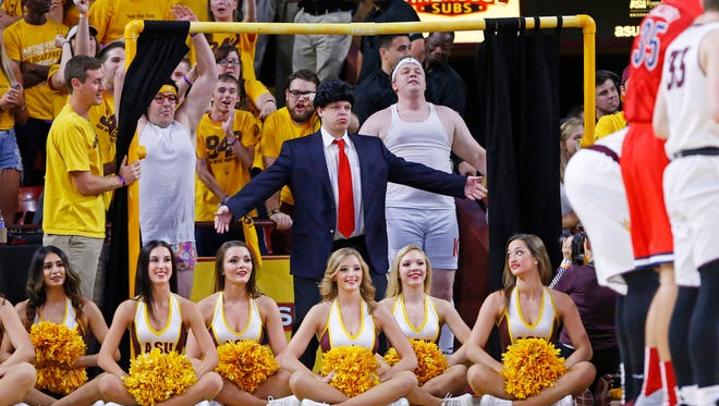 Arizona State Sun Devils  Curtain of Distraction during their  NCAA basketball game against the Arizona Wildcats Saturday, Feb. 7, 2015 in Tempe, Ariz.