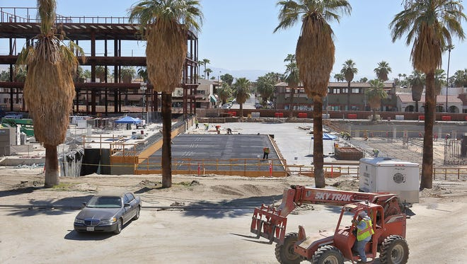 Work continues on Palm Springs' downtown redevelopment project.