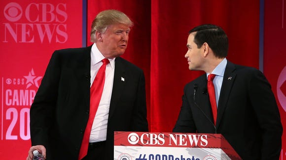 Donald Trump and Marco Rubio at a debate in South Carolina.