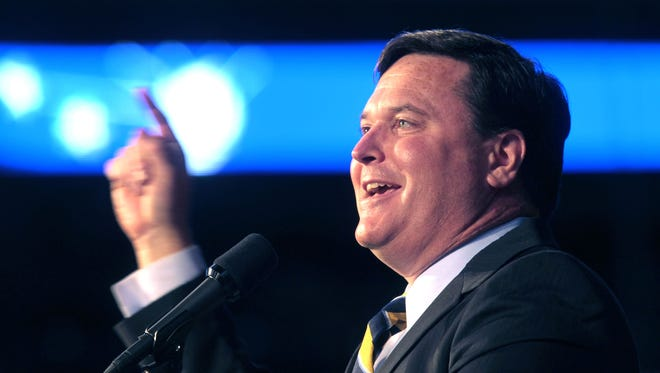 Indiana Republican District 4 Congressman Todd Rokita celebrates his successful bid for re-election with Republicans at Lucas Oil Stadium, gathered for election night returns on Tuesday, Nov. 6, 2012.