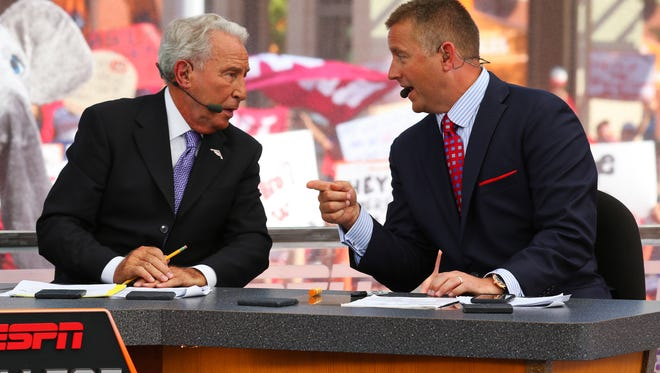 Sep 5, 2015; Fort Worth, TX, USA; Lee Corso and Kirk Herbstreit during the live broadcast of ESPN College GameDay at Sundance Square. Mandatory Credit: Ray Carlin-USA TODAY Sports
