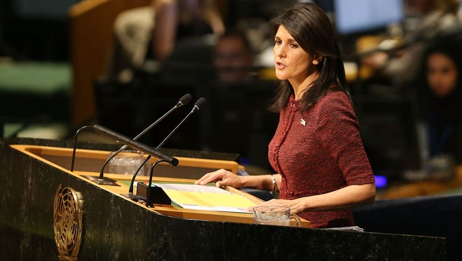 Nikki Haley, the United States Ambassador to the United Nations, speaks on the floor of the U.N. General Assembly on Dec. 21, 2017, in New York City.