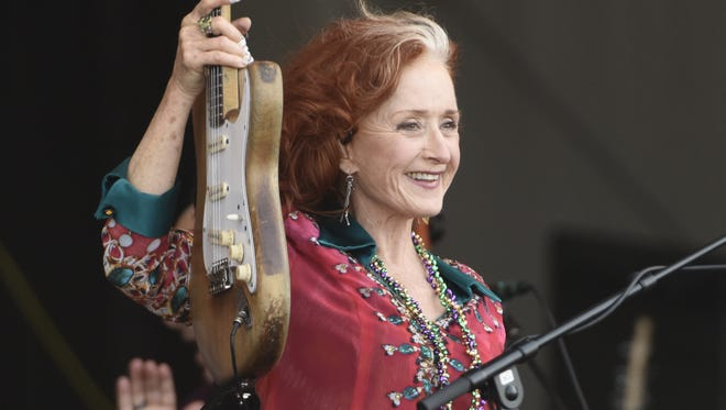 Bonnie Raitt performs during the 2018 New Orleans Jazz & Heritage Festival on April 28, 2018 in New Orleans, Louisiana.