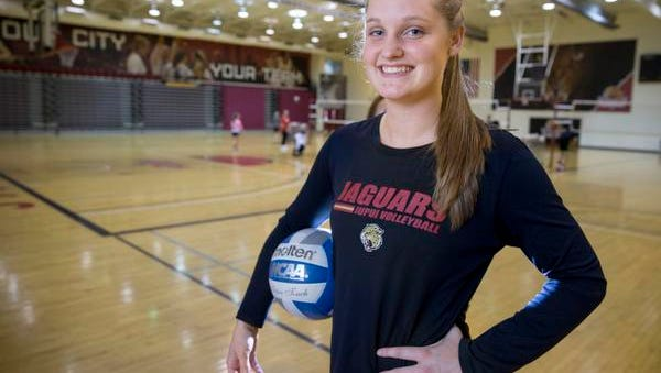 Kaitlyn Hickey, 21, stand-out volleyball player at IUPUI, during practice on campus, Indianapolis, Tuesday, Nov. 10, 2015.