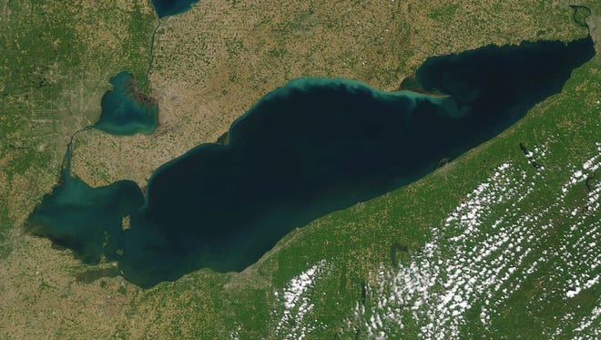 A true color image of the western Lake Erie basin taken on May 23, 2016, by MODIS on NASA's Terra satellite.