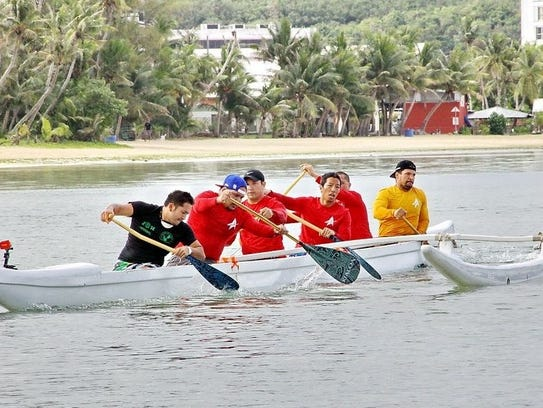 In this file photo, Members of the Tátasi club compete during race one of the Galaide Cup in 2015, at The Santa Fe on the bay. The team was practicing for the IVF Va'a World Sprint Championships held in Australia.