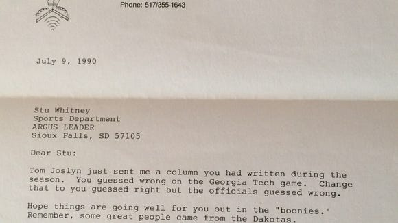 Letter sent by Jud Heathcote to Sioux Falls in 1990.