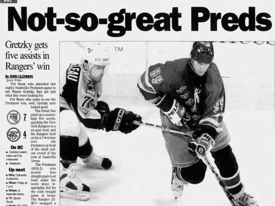 Wayne Gretzky led the Rangers to a 7-4 win over the Predators in his only appearance in Nashville, on Feb. 15, 1999.