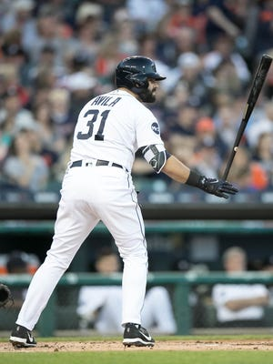 Tigers first baseman Alex Avila bats during the first inning Sunday at Comerica Park.