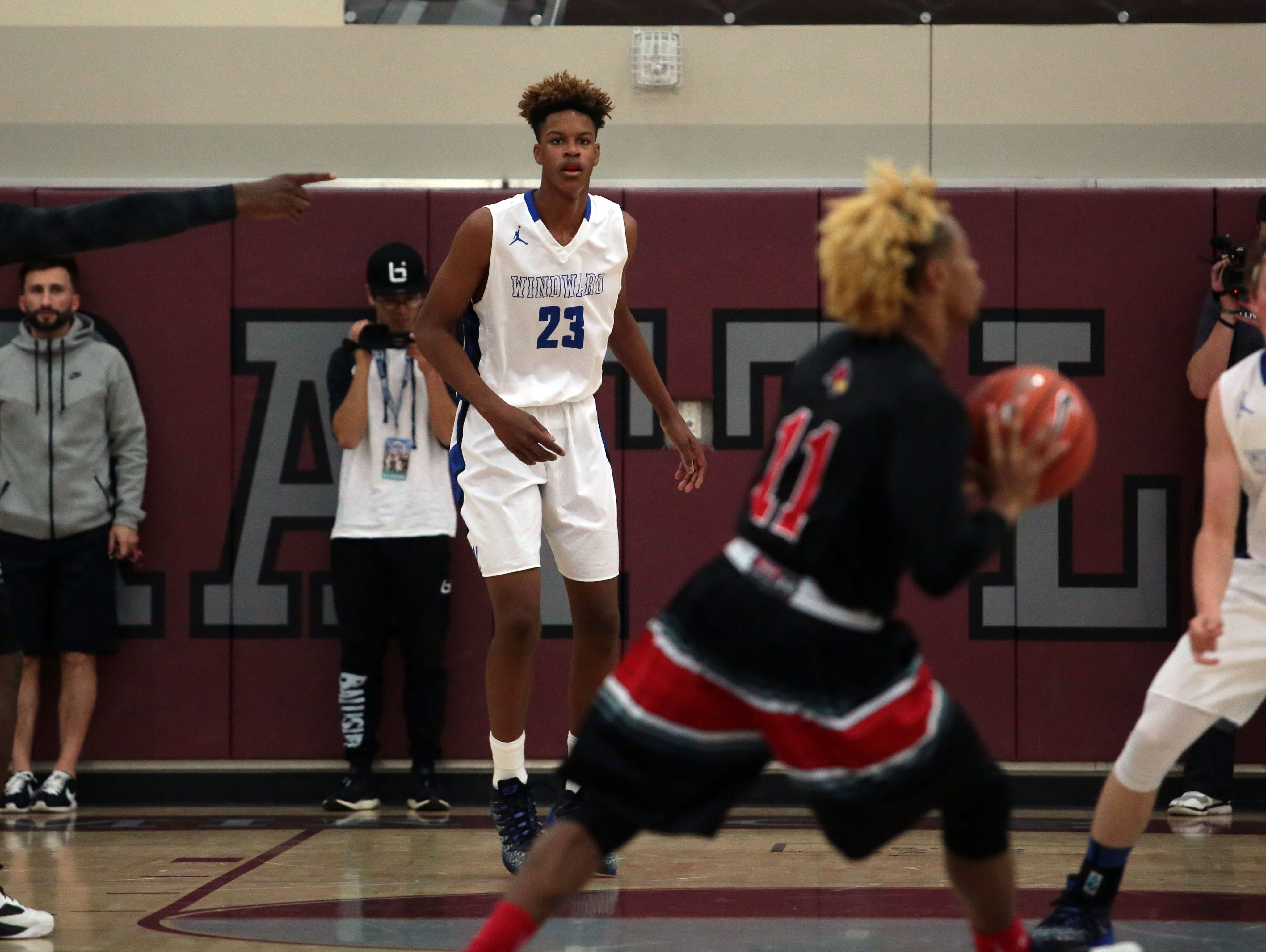 Windward High School forward Shareef O'Neal in action against Jonesboro on Saturday at Rancho Mirage High School during the MaxPreps Holiday Classic.