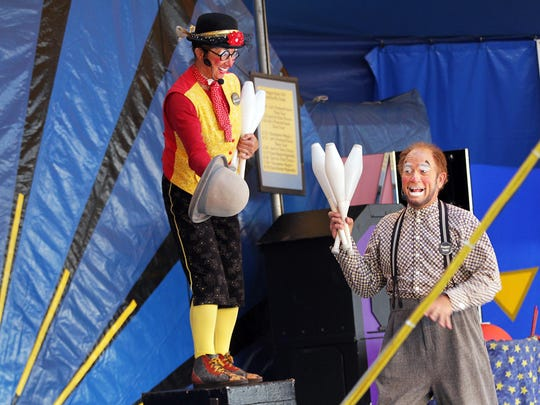 See Jest in Time Circus of Fools perform multiple times daily inside Familyville at the Oregon State Fair.
