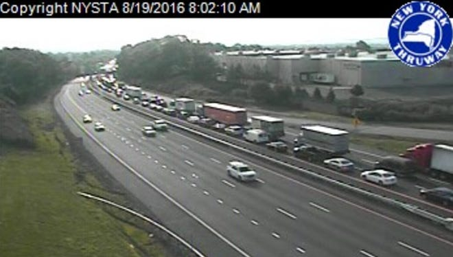 Traffic is backed up southbound on I-87 just after 8 a.m. on Friday, Aug. 19, 2016, after a tractor-trailer fire in Rockland County.