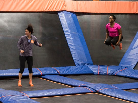 Kim Haik and Erica Sampson work out Saturday, January