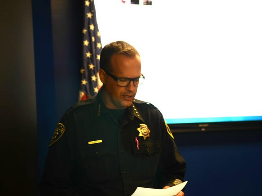 Reno Police Chief Jason Soto speaks Thursday night at a news conference on the incident that occurred earlier in the week where  a driver plowed through a group of protesters.
