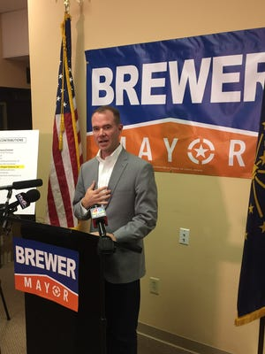 Republican mayoral candidate Chuck Brewer is shown on Saturday, Oct. 31, 2015, at a news conference questioning sources of campaign donations for his rival,  Democrat Joe Hogsett. Brewer and Hogsett will square off in Tuesday's election for Indianapolis' next mayor.