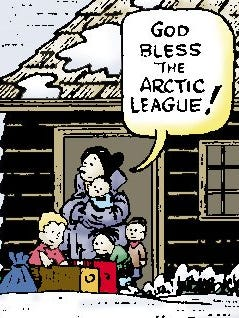 A panel from the Arctic League comic strip.