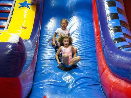 Six-year-olds Rowan Privitera (front) and Marah Williamson
