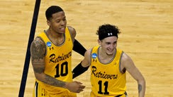 UMBC Retrievers guard Jairus Lyles (10) celebrates
