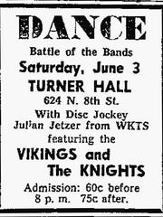 Sheboygan Press ad for a Battle of the Bands event at Turner Hall in Plymouth. 1961