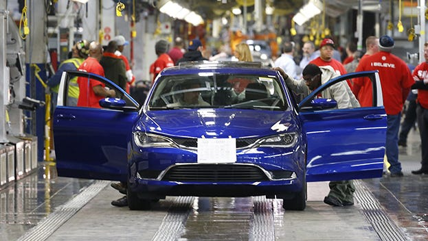 A 2015 Chrysler 200 automobile moves down the assembly line at the Sterling Heights Assembly Plant in Sterling Heights in this photo from March 2014.