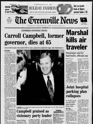 The front page of The Greenville News on Dec. 8, 2005.