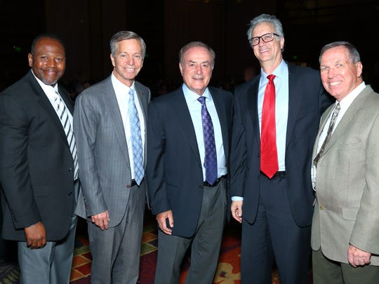 (left to right): Quinton Egson, CEO Clubs; Doug Miller, board president; Al Michaels, television sportscaster and master of ceremonies; Brian Harnik, board vice president; and Jim Ducatte, CEO Foundation.