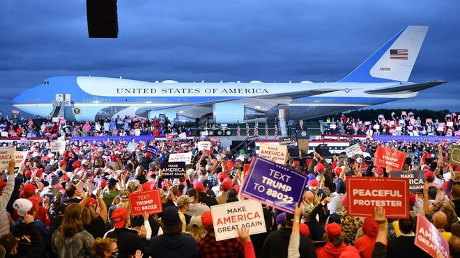 President Donald Trump addresses supporters during a campaign rally at MBS International Airport in Freeland, Michigan on Sept. 10, 2020.