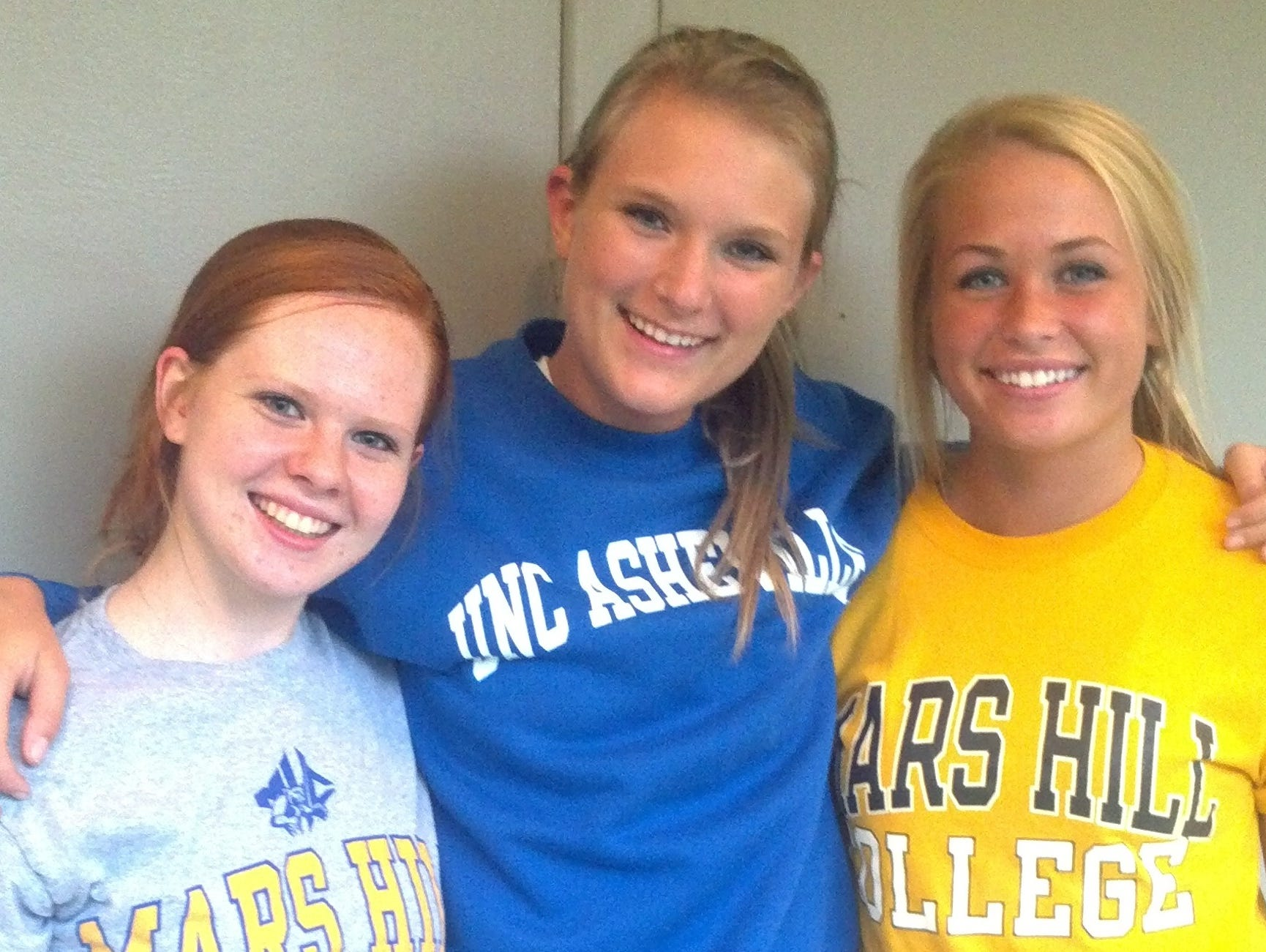 Former Biltmore Volleyball Academy players Lindsay Austin, Taylor Sauer and Mary Kate Griffin.