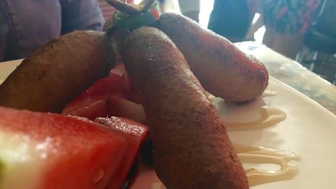Everything at Nice Guys is cooler than you, including these amazingly delicious breakfast corn dogs.