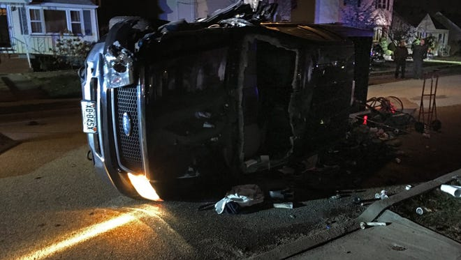 An pickup truck overturned after striking another vehicle Thursday night in Clifton, police said.