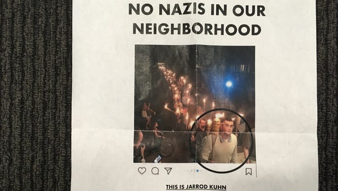 """This flyer was hung around the village of Honeoye Falls, identifying Jarrod Kuhn as a """"neighborhood threat."""""""