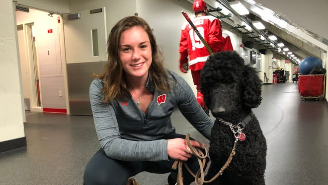 When Lauren Williams isn't playing defense for the Badgers hockey team, she's training Que to be a guide dog.