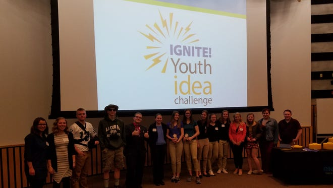 Student teams after competing in the Youth Idea Challenge pitch night on April 18.