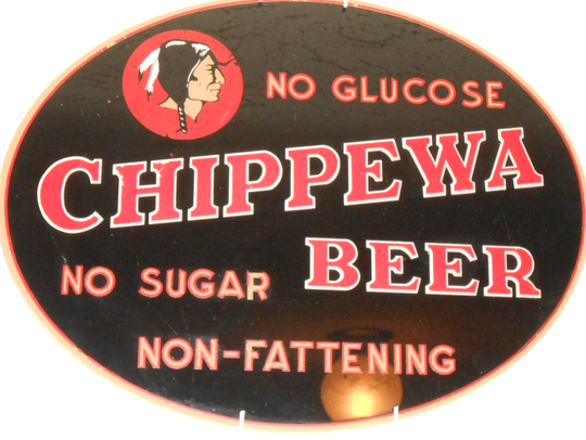A painted sign for Chippewa Beer owned by Perry Paxton