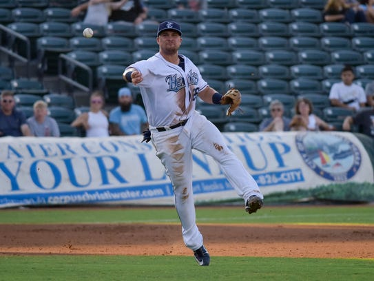 Hooks third baseman J.D. Davis throws to first for